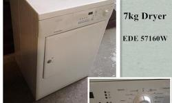 Electrolex 7kg Dryer,EDE 57160W,free delivery. We have