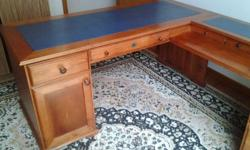 Solid timber L shaped study desk. Dimensions 192cm long