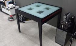 Black/Red Colour Hardwood Table with Tempered GLASS