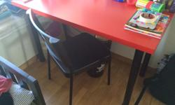 Expat Sale Selling IKEA desk, red table top, black