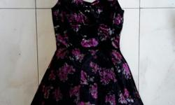 Factorie black velvety with red flower dress. Condition