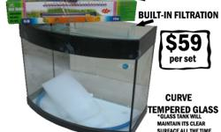BRAND NEW 2FT FISH TANK TEMPERED GLASS CURVE GLASS