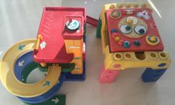 Fisher price Music table and Car Garage with some car
