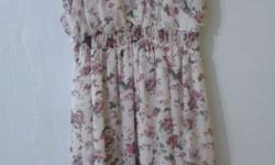 Floral dress at $12, worn once. Size at S or small M.