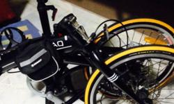 7 speed black colour foldable bicycle. Accompanied with