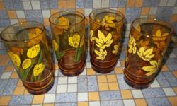 Short and unique footed glasses with yellow floral and