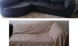 Free leatherette sofa. Left side is in very good