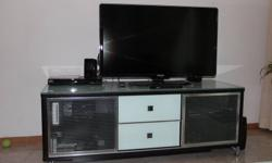 Glass and wood coffee table and entertainment/TV stand