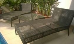 Water-proof PE garden wicker sofas (2x) and coffee
