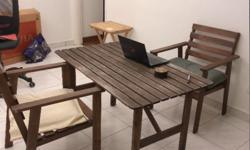 Good for balcony. Table (70x125 cm, hight 71 cm)