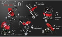 Black in colour Can be used in 6 ways Baby seat and cot