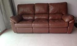 Moving Sale !!! Genuine Leather Recliner Sofa - 3