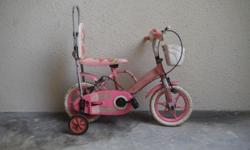 Girl's Banana Seat bike with training wheels and sissy