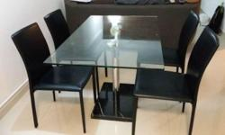 Beautiful glass dining table 1.4m x 0.8m with marble