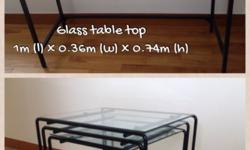 Sleek looking brand new Glass Table Top in Black Edging