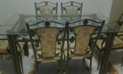 Glass Top with Iron Legs Dining Table & Coffee Table,