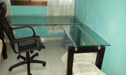 Nice glass writing table with High-Back chair for sale.