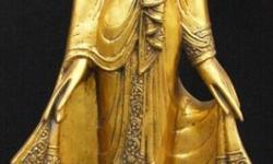 Gold leaf Thai standing buddha made of poly resin - For