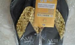 Golden Shinny Slippers. Size 37