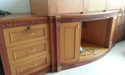 made by Indonesia wood with hand craft long cabinet