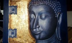 Hand painted buddha oil painting on canvas by