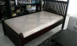 Hard Wood Frame, not veneer. Size: single and half,