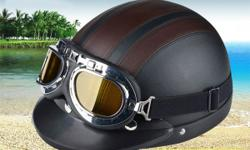 Ride in style with retro halfcap stylish open face