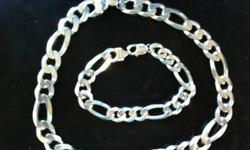 925 silver italian thick bracelet and chain grab fast