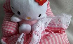 Pink and white checkered HELLO KITTY stuff toy which