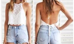 High Waist White Washed Jeans Shorts. Waist is 28