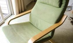 PO�NG, arm chair with green KORNDAL cover. This cover