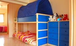 IKEA bunk bed with tent. Turned upside down the bed