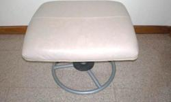 Ikea foot stool beige leather with 2 fabric covers in