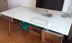 IKEA Frosted Glass Top desk with Chrome Legs, Like new.
