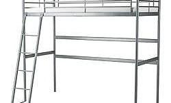 SV�RTA Loft bed frame, silver-colour used by my 8 year