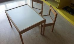 Ikea study table with 2 chairs. Contact :66489682