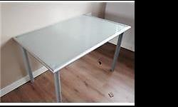 Ikea tempered-glass (frosted) top table with legs (not