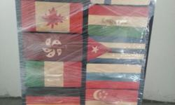 Designer iron chest of 12 drawers with flags design. It