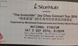 Selling Jay Chou Tickets Section: PE3 Row: 88 Seat: 1