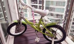 Almost new Girls bicycle, green, please collect asap
