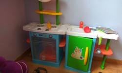 well kept kids kitchen set with all the accessories for
