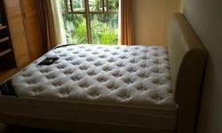King size bed + mattress Lovely King size leather bed &