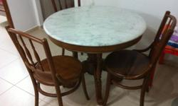 Selling Kopitiam Style marble top table with 3 chairs.