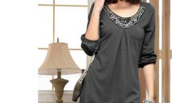 JD1933 Plus Size OL three quarter sleeve Rivet Dress