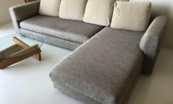 2 piece L-shaped sofa, wooden frame in 2-tone beige