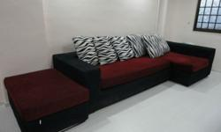 L-Shaped KING KOIL Fabric Sofa with Left Chaise. ( GOOD