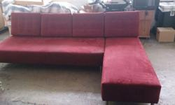 Red colour cloth sofa, 2m long, cushion cover can be