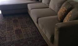 L shaped beige fabric sofa, in good condition, 3+1.