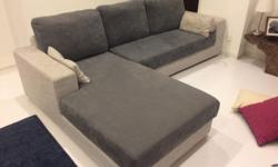 L - Shaped sofa. Blue and grey. Good condition.