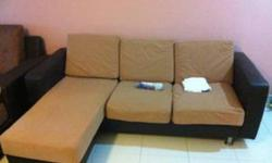 less than 2 year Brown L sofa with matching coffee
